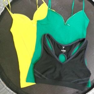 Tops - Green and Yellow Cami Tanks Tops with Sport Bra